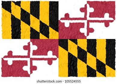 Crumple flag of Maryland American state