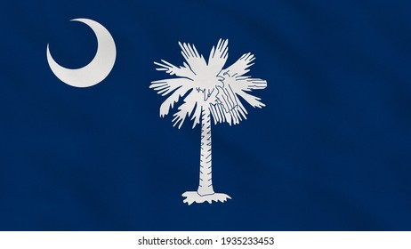 Crumpled Fabric Flag of South Carolina State - USA Intro. USA Flag. State of South Carolina Flag. North America Flags. Celebration. Patriots. Realistic Animation 4K. Surface Texture. Background Fabric