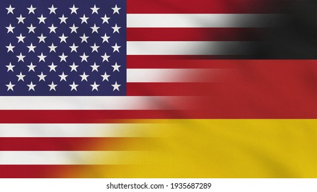 Crumpled Fabric Flag of United States and Germany.