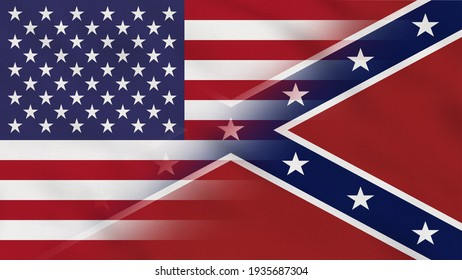 Crumpled Fabric Flag of United States and Confederates - USA.