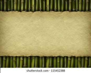 Crumpled paper sheet on bamboo background