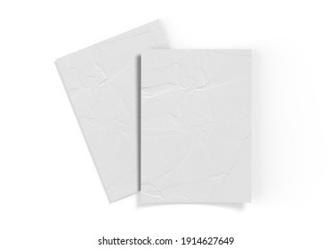 Crumpled sheet of textured paper mockup, clean empty paper note mock up template of A4 format with shadow on white background, 3d illustration