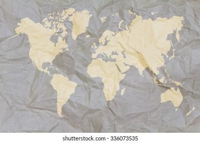 Crumpled world map paper,Golden
