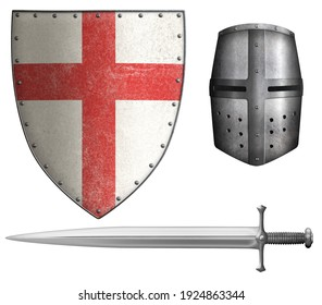 crusaders shield, helmet and sword isolated 3d illustration
