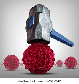 Crush cancer concept as a heavy sledgehammer or hammer crushing and smashing,a cancerous cell as a health care medical symbol for a cure to fight the dangerous disease with life saving treatments.