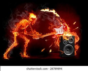 Crush guitar. Fiery skeleton breaks a guitar. Series of fiery illustrations.