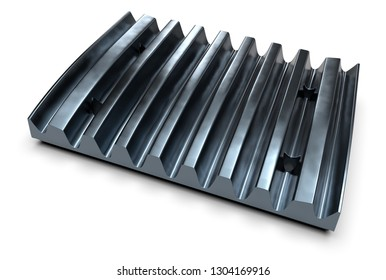 Crusher jaw plate isolated on white. 3d rendering