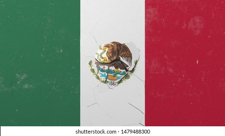 Crushing concrete wall with flag of Mexico. Mexican crisis conceptual editorial 3D rendering