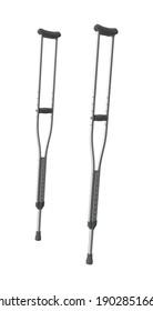 Crutches 3D illustration on white background