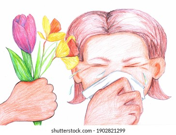 Crying allergic woman having a gift of bunch of flowers with hanky in her hand
