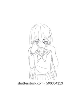 Crying Girl Drawing Images Stock Photos Vectors