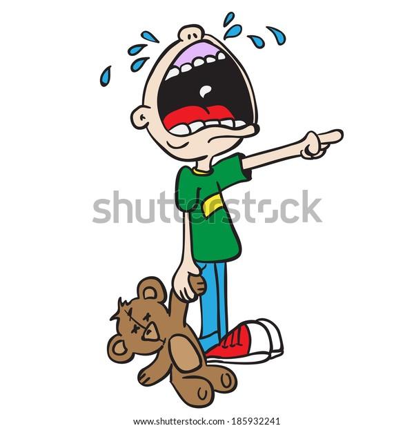 crying boy with bear toy cartoon