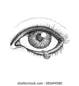 Crying Eye Dotwork. Raster Illustration of Human Vision and Tear Drop. Tattoo Hand Drawn Sketch.