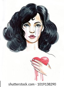 Crying girl with a bleeding heart