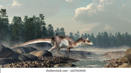Cryolophosaurus was a carnivorous theropod dinosaur, known for its distinctive crest, it lived during the Jurassic in Antarctica. By a rocky stream.     3D Rendering.