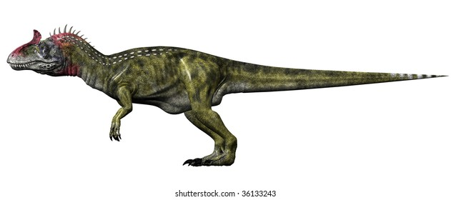 Cryolophosaurus Dinosaur scientific study side view. Illustration on clean white background.