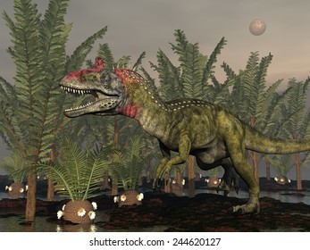 Cryolophosaurus dinosaur walking among pachypteris trees and cycaedeonea plant by cloudy night - 3D render