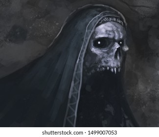 Crypt skeleton with wearing a cloak hanging out in a dungeon - digital fantasy painting