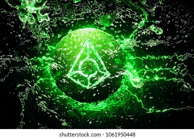 Crypto Currency Augur Symbol Underwater in the Green Light. 3D Illustration of Silver Augur Logo Placed Under Water.