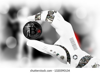 crypto currency bitcoin in the robot's hand, the concept of artificial intelligence, background flag of Blackbeard Pirate. 3d rendering