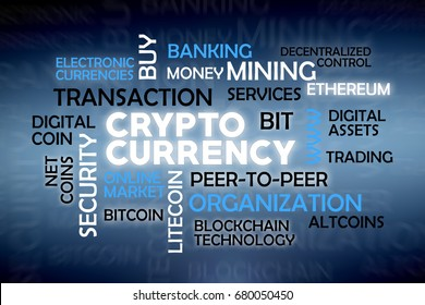 Crypto currency cloud tags with common words