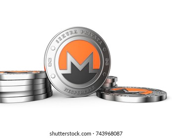 Crypto currency. The coin with the symbol. Metal coin. Monero. 3d illustration.