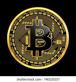 Crypto currency golden coin with black lackered bitcoin symbol on obverse isolated on black background. illustration. Use for logos, print products, page and web decor or other design.