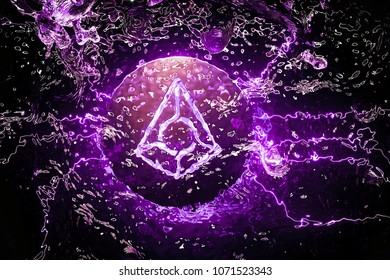 Cryptocurrency Augur Symbol Placed Underwater in the Purple Light. 3D Illustration of Silver Augur Logo Located Under Water.