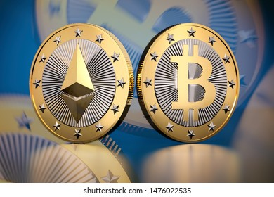 Cryptocurrency background - Bitcoin and Ethereum - 3D Rendering