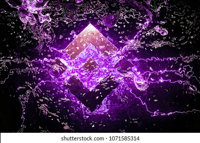 Cryptocurrency Binance Coin Symbol Placed Underwater in the Purple Light. 3D Illustration of Silver Binance Coin Logo Located Under Water.