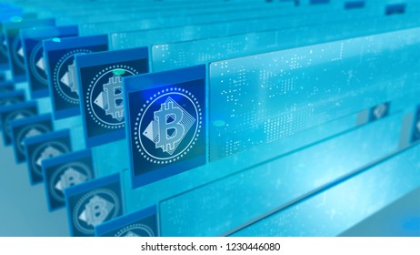 Cryptocurrency Bitcoin crypto sign as blockchain concept 3D illustration