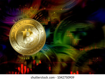 Cryptocurrency bitcoin on circuit board Dark background