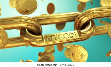 Cryptocurrency Bitcoin symbol as virtual currency on gold chain 3D illustration