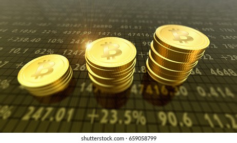 Crypto-currency bitcoins finance and banking as 3D Illustration concept.