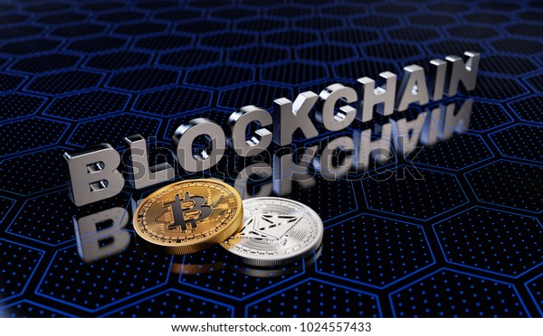 Cryptocurrency Blockchain Abstract Background. 3D illustration
