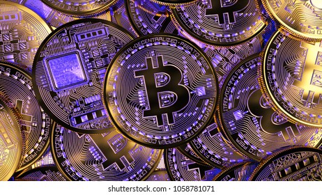Cryptocurrency concept background. Phisical golden bitcoin with purple luminescence. 3d illustration