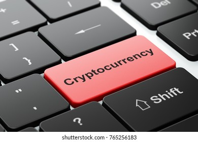 Cryptocurrency concept: computer keyboard with word Cryptocurrency, selected focus on enter button background, 3D rendering