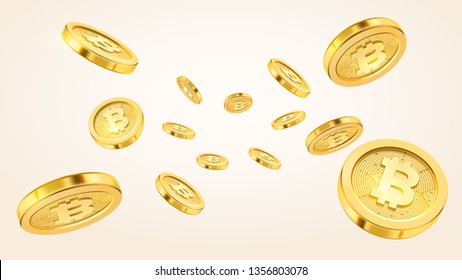 Cryptocurrency concept or electronic payments. technology 3d illustration. Realistic gold coins explosion or splash on white background. Rain of golden bitcoins. Falling or flying money.