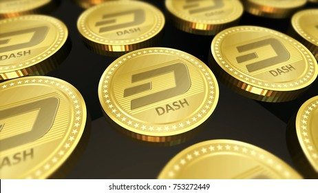Cryptocurrency Dash coins symbol in blurred close up 3D illustration concept.