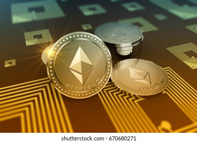 Crypto-currency Ethereum in blurred close up 3D Illustration concept