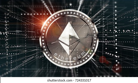 Cryptocurrency Ethereum in blurred virtual network 3D illustration.