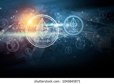 Cryptocurrency ethereum digital money and global network connection abstract background design illustration