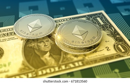 Cryptocurrency Ethereum with One Dollar Bill as financial 3D Illustration concept.