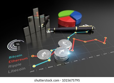 Cryptocurrency Ethereum and virtual financial currency market exchange 3D illustration
