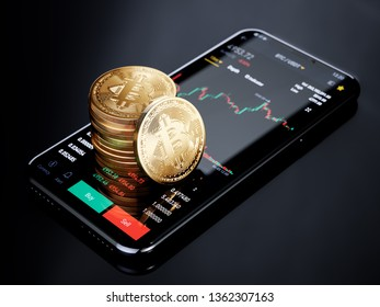 Cryptocurrency exchange mobile trading Bitcoin. Smartphone with bitcoins golden coins stack and exchange trading graph. 3d rendering illustration