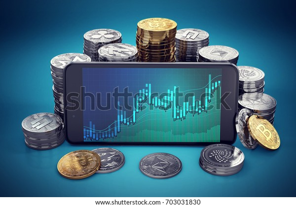 Cryptocurrency grow graph displayed on smartphone screen surrounded by different cryptocurrencies piles. 3D rendering