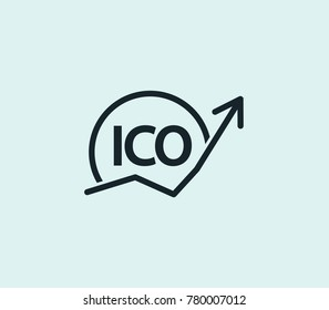 Cryptocurrency ico icon line isolated on clean background. Blockchain concept drawing icon line in modern style. Cryptocurrency ico illustration for your web site mobile logo app UI design.