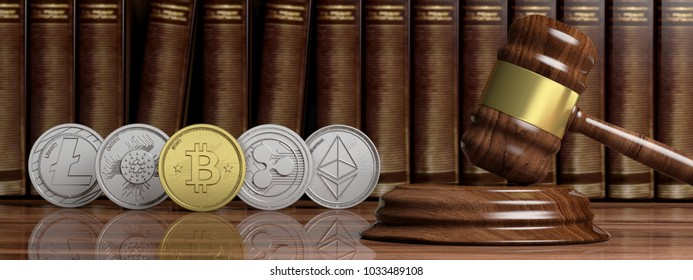 Cryptocurrency law concept. Gavel and variety of virtual coins on law books background, banner. 3d illustration