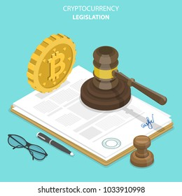 Cryptocurrency legislation flat isometric concept. Signed document with bitcoin and gavel on it.