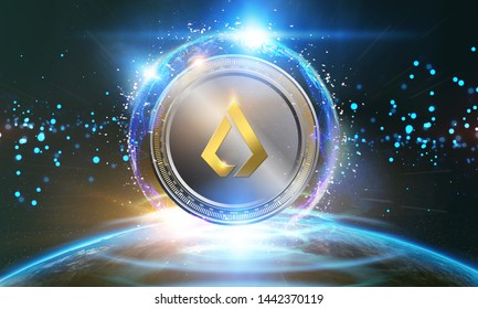 Crypto-currency,  Lisk internet virtual money. Currency Technology Business Internet Concept.
